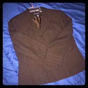 Brown pinstriped blazer size 14 NWOT